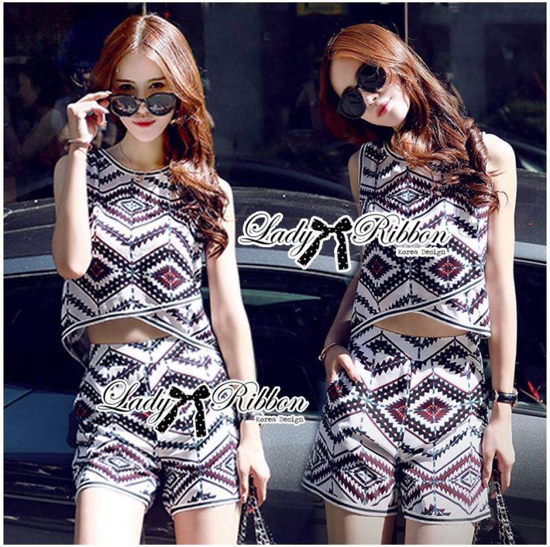 Lady Claire Graphic Tribal Sleeveless Top and Shorts Ensemble Set L161-75C02