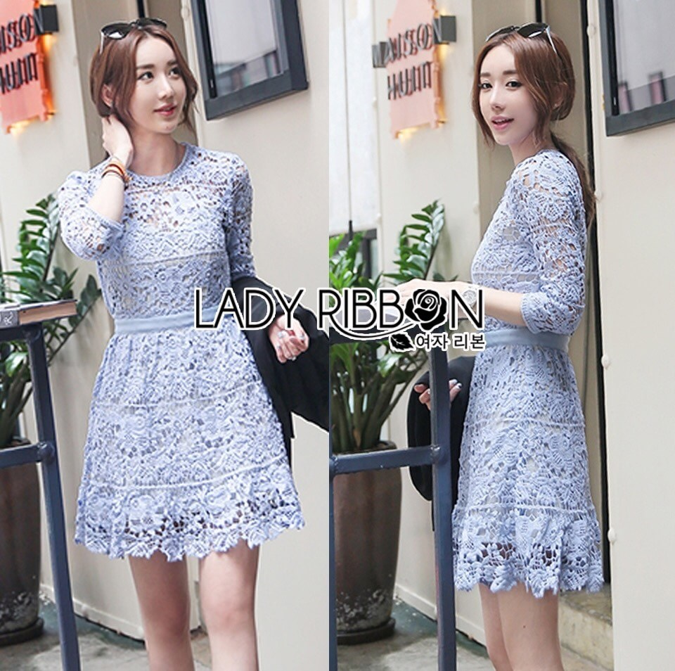 Lady Ariana Sweet Feminine French Lace Dress in Light Blue L217-95C17