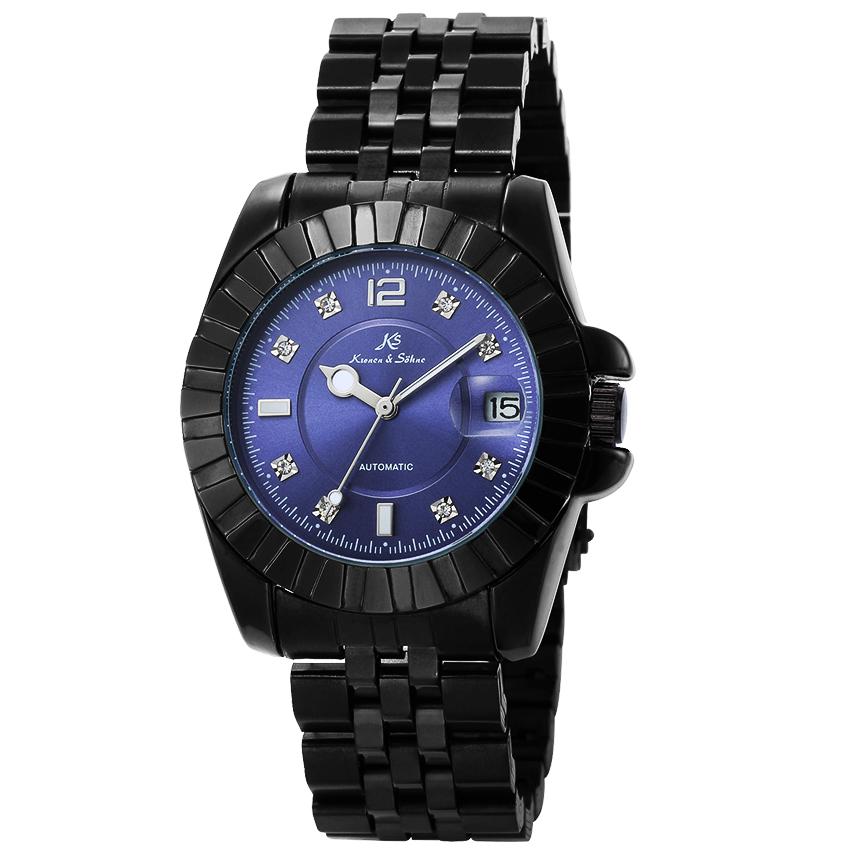 นาฬิกาข้อมือผู้ชายออโตเมติก KS Automatic Luxury KS316 ฝังเพชร Rhinestone สายแสตนเลสสีดำ