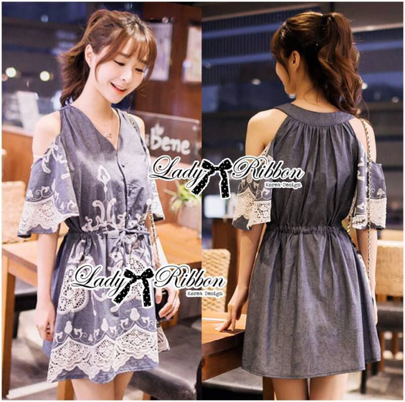 Lady Elie Casual Cut-Out Lace Embroidered Dark Denim Dress L170-75E02