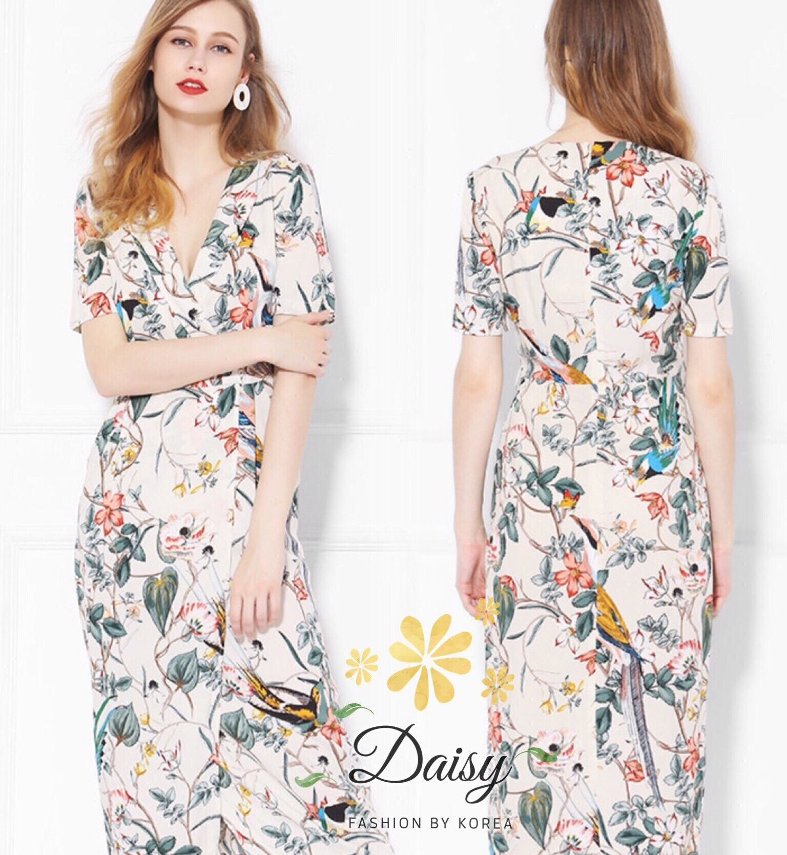 Daisy v-neck cream flower dress