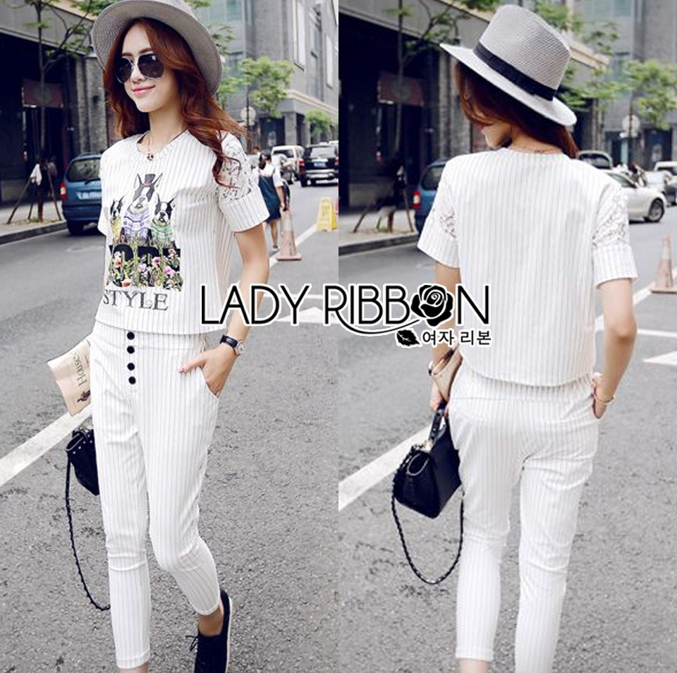 Lady Emma Sporty Casual Striped Printed with Lace Set L205-89C03