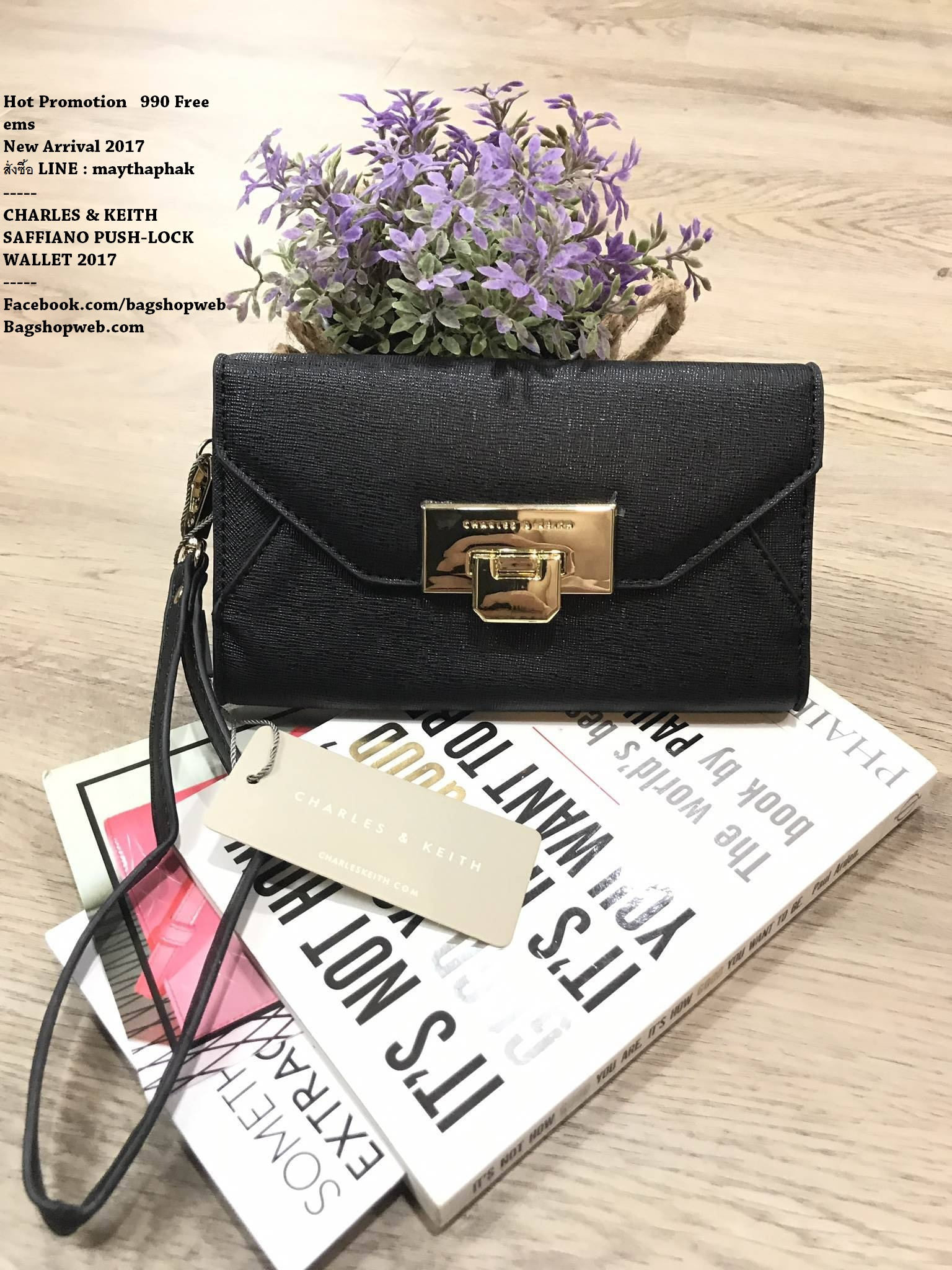 CHARLES & KEITH SAFFIANO PUSH-LOCK WALLET 2017