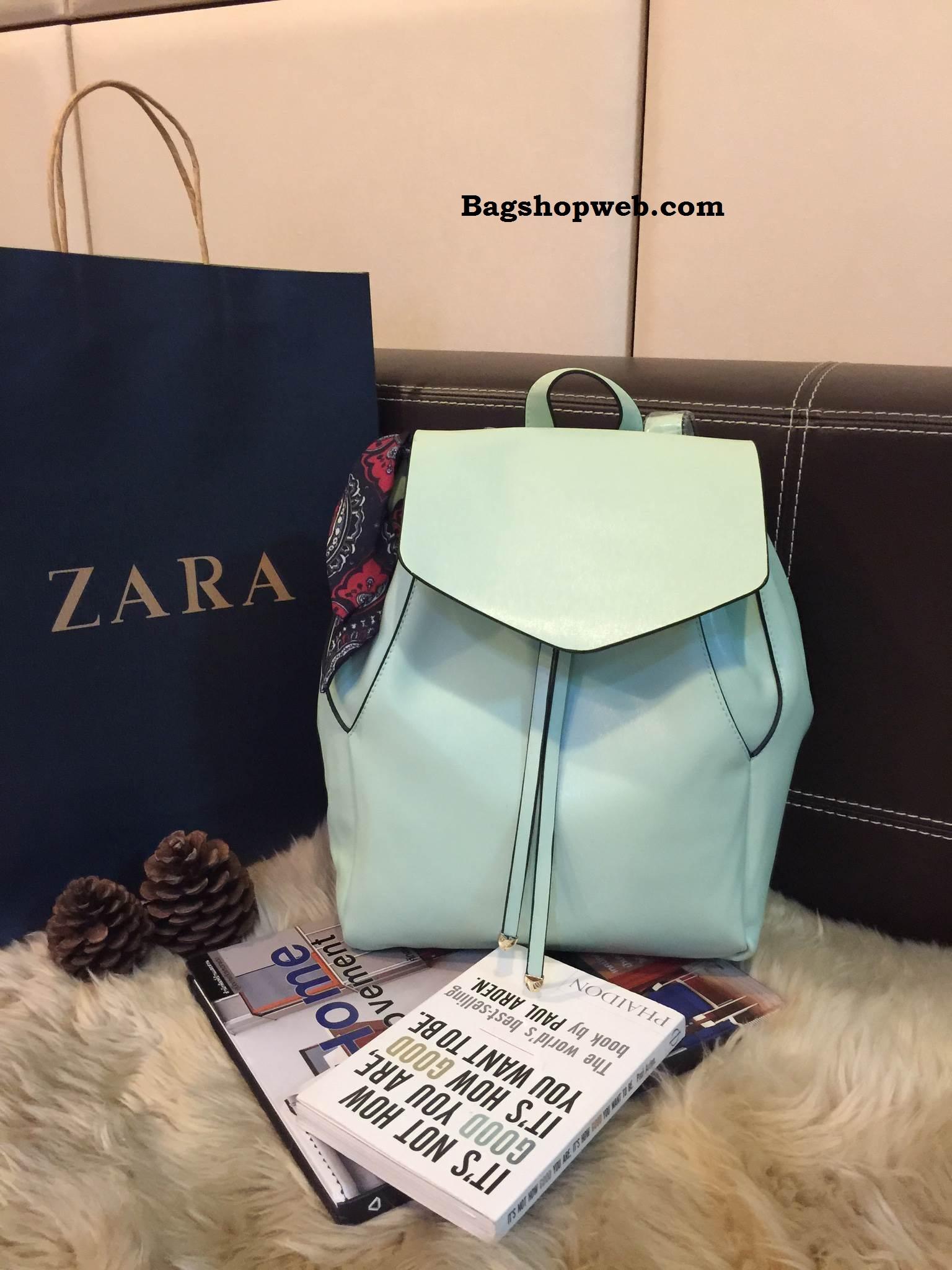 กระเป๋าเป้ Zara Backpack With Scarf สีฟ้าอ่อน ราคา 1,290 บาท Free Ems
