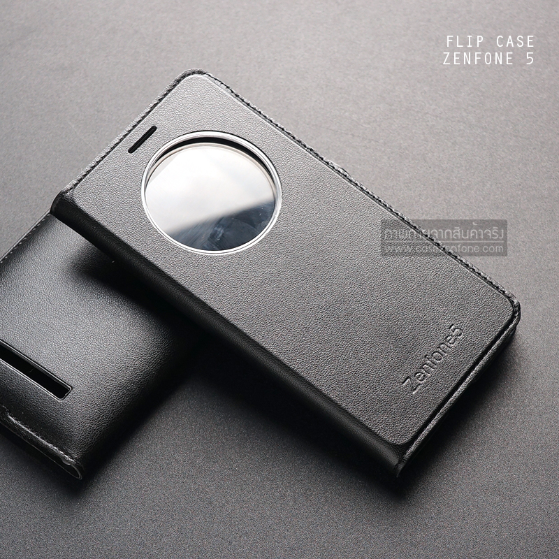 เคส Zenfone 5 เคสฝาพับบางพิเศษ ลายหนัง สีดำ