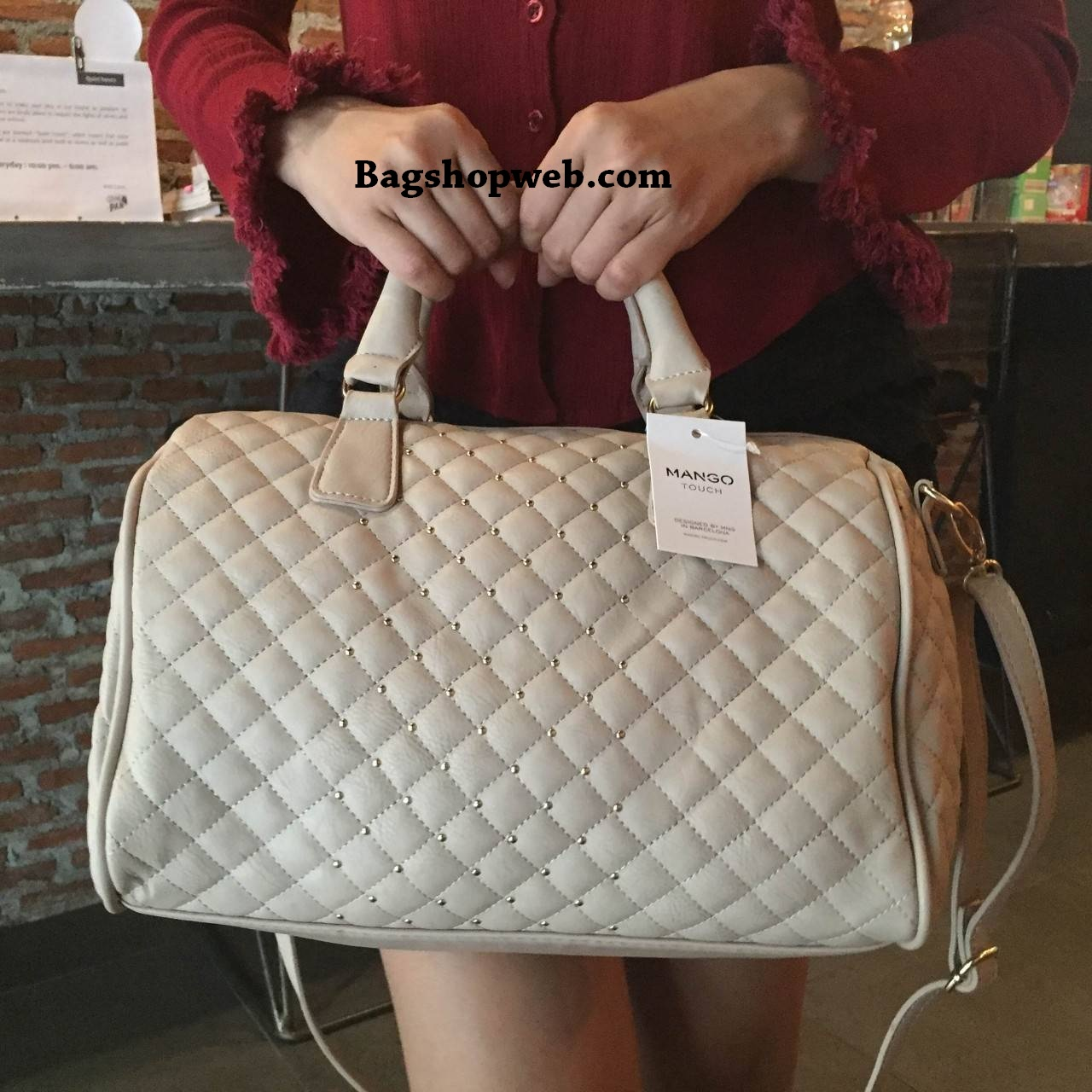 MANGO Quilted Bowling Bag