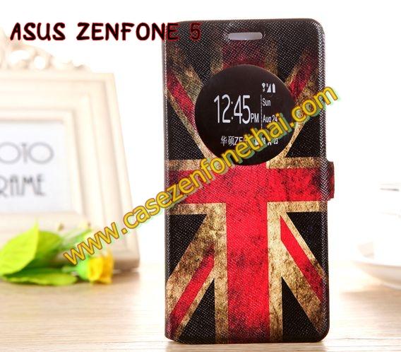 เคสzenfone 5 ฝาพับ FLIP COVER ลายวินเทจ ธงชาติอังกฤษ