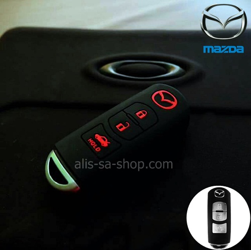 ปลอกซิลิโคน หุ้มกุญแจรีโมทรถยนต์ Mazda 2,3 Smart Key 3 ปุ่ม สี ดำ/แดง