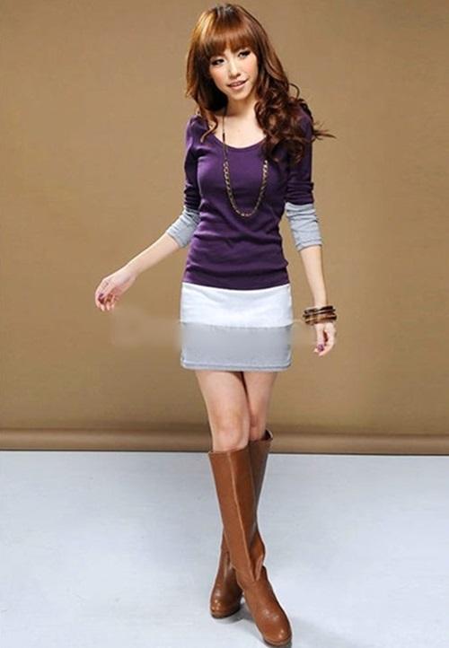 ชุดเดรสสั้นผ้ายืด แขน 3 ส่วน สี ม่วง / เทา ไซส์ M