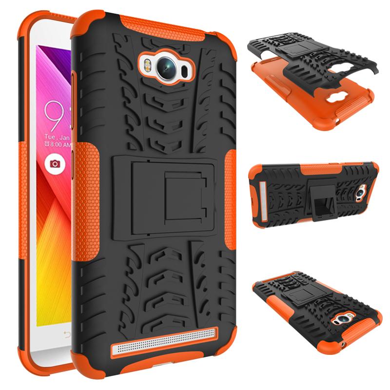 เคส asus zenfone MAX ZC550KL TPU+PC Dual Armor Case With Stand Holder Case สีส้ม