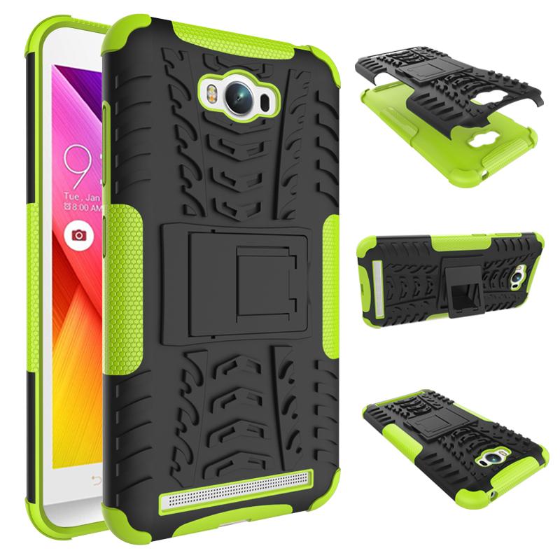 เคส asus zenfone MAX ZC550KL TPU+PC Dual Armor Case With Stand Holder Case สีเขียว