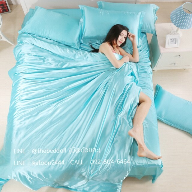 ผ้าปูที่นอน ผ้าซาติน satin 100% สีพื้น