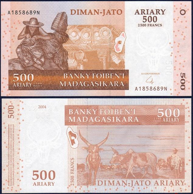ธนบัตรประเทศ มาดากัสการ์ ชนิดราคา 500 Ariary (อเรียรี่) [2,500 Francs] รุ่นปี พ.ศ.2547 (ค.ศ.2004)