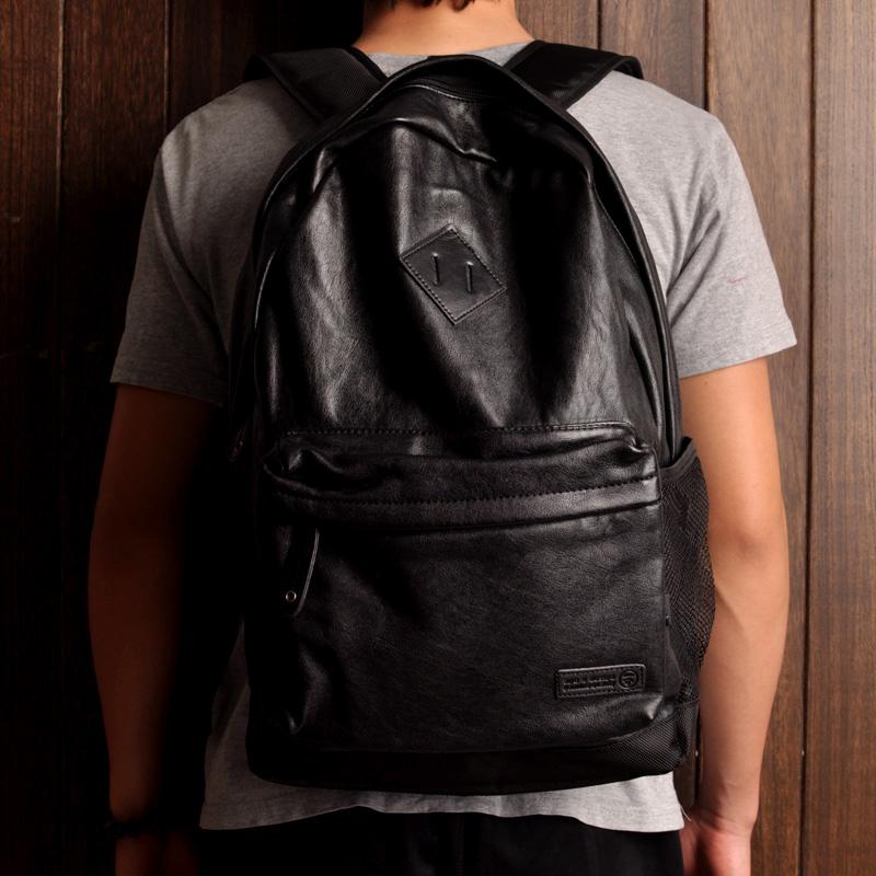 กระเป๋าเป้สะพายหลังสารพัดประโยชน์ สวย ทน เท่ห์ คุณภาพชั้นนำเป็นที่ยอมรับระดับสากล Foreign trade high-quality Japanese retro new couple models men and women shoulder bags PU leather backpack outdoor travel bag