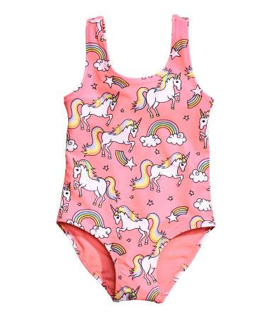 H&M : ชุดว่ายน้ำ ลายยูนิคอน สีโอรส size : 6-8y