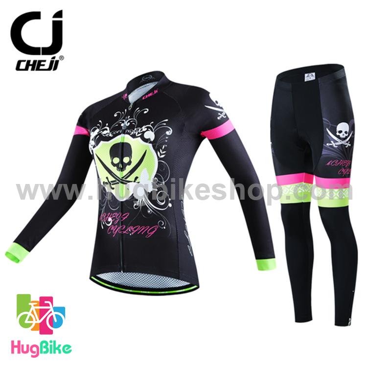 ชุดจักรยานผู้หญิงแขนยาวขายาว CheJi 16 (05) สีดำเขียวชมพู ลายกระโหลก Recing is life
