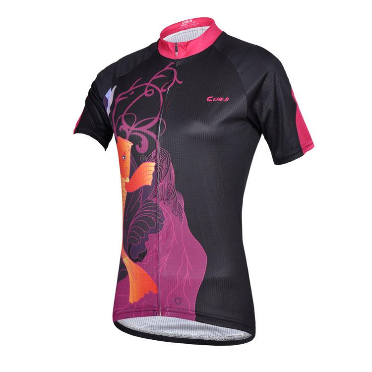 เสื้อจักรยานผู้หญิงแขนสั้น CheJi สีดำลายปลา สั่งจอง (Pre-order)