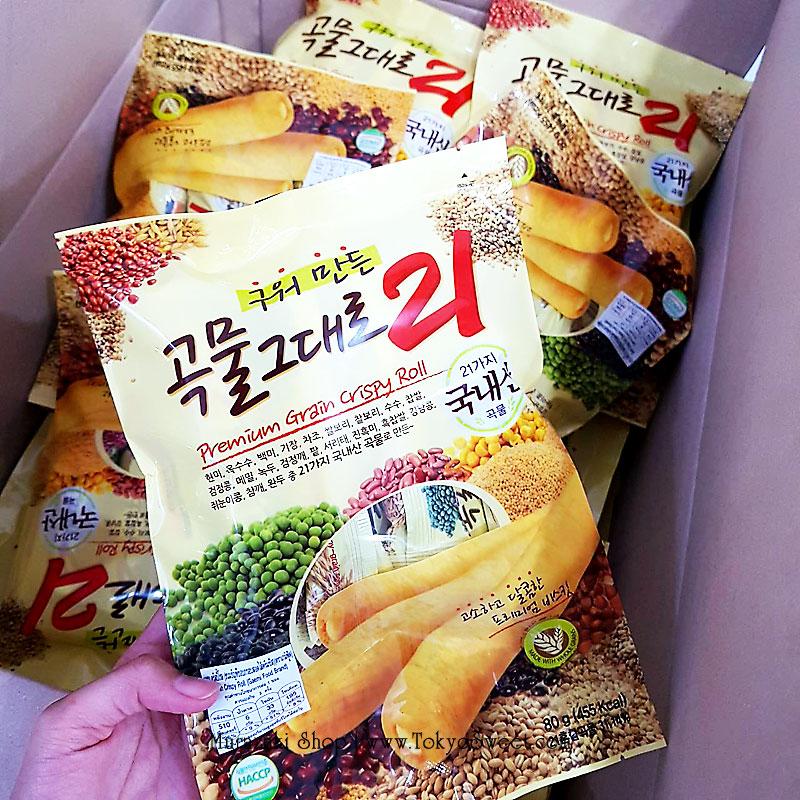 พร้อมส่ง ** Gaemi Grain Crispy Roll ธัญพืช 21 ชนิดอบกรอบ สอดไส้ชีส บรรจุ 80 กรัม (8 แท่ง)