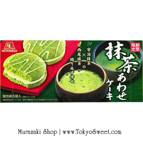 พร้อมส่ง ** Morinaga - Matcha Awase Cake เค้กชาเขียวเนื้อนุ่ม สอดไส้ครีมกลิ่นชาเขียว บรรจุ 6 ชิ้น แต่ละชิ้นห่อแยกกัน พกพาสะดวก