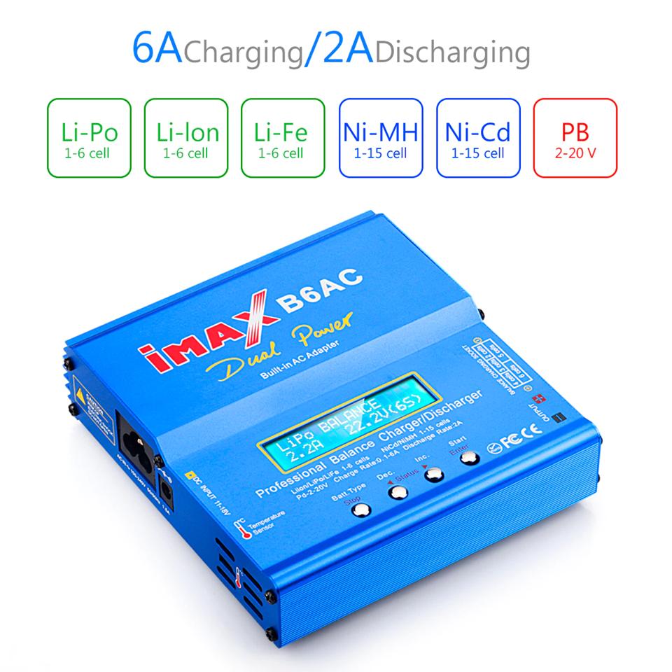 Imax B6AC 80W Lipo Nimh Nicd RC Battery LED Screen Balance Charger Discharger