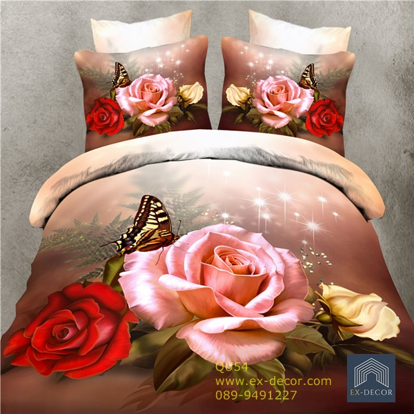 (Pre-order) ชุดผ้าปูที่นอน ปลอกหมอน ปลอกผ้าห่ม ผ้าคลุมเตียง ผ้าฝ้ายพิมพ์ 3D รูปกุหลาบชมพู