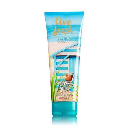 **พร้อมส่ง**Bath & Body Works Live Fresh 24 Hour Moisture Ultra Shea Body Cream 226g. ครีมบำรุงผิวสุดเข้มข้น มีกลิ่นหอมติดทนนาน ด้วยกลิ่นหอมสดชื่นดั่งรับอากาศบริสุทธิ์จากท้องทะเล ผสมกลิ่นหอมละมุนๆของมะพร้าว ,