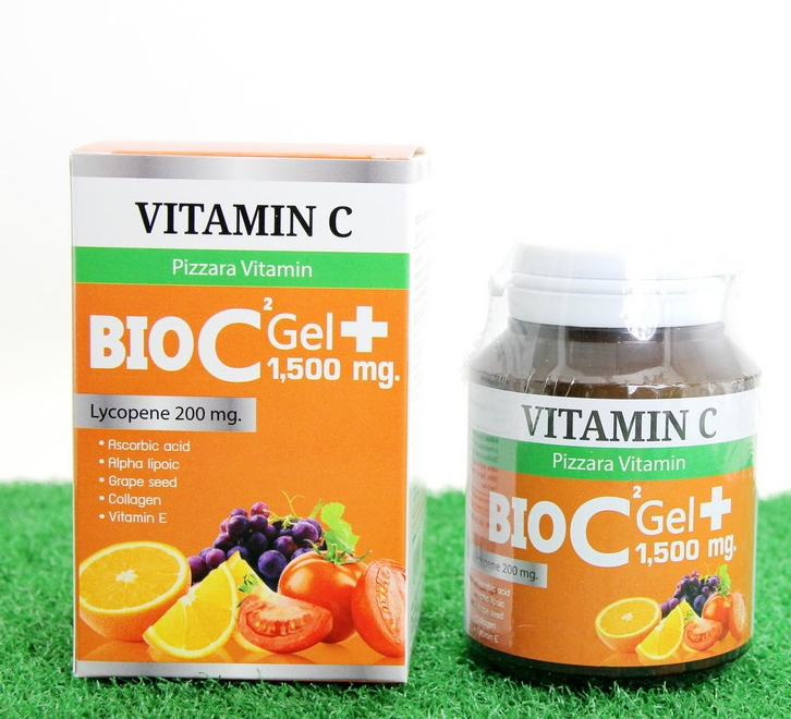 Pizzara BIO C Gel Plus 1,500 mg. วิตามิน ไบโอ ซี เจล พลัส สูตรใหม่ ขาวไว ลดสิว ผิวใส