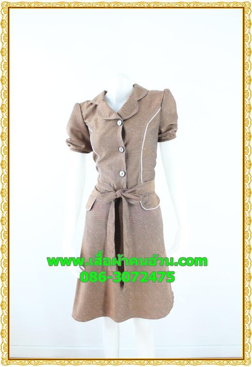 2593ชุดทํางาน เสื้อผ้าคนอ้วนชุดลายดอกฟ้าผ้าผ้าไหมเทียม แขนตุ๊กตา กระโปรงย้วย สไตล์หวานเรียบร้อย กระดุมหน้า แต่งเกล็ดด้านหน้าผูกโบเอว