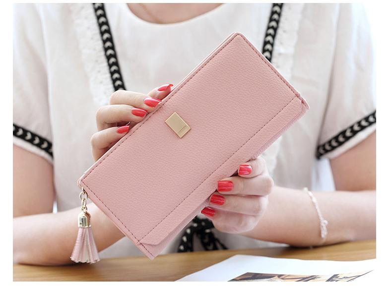 กระเป๋าสตางค์ผู้หญิง ทรงยาว รุ่น Prettyzys SQ Light Pink สีชมพูอ่อน