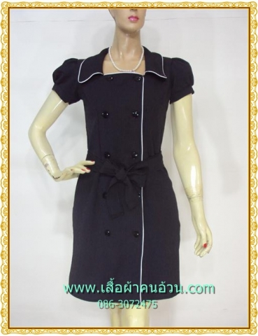 2186เสื้อผ้าคนอ้วนสีดำ ชุดทำงานดำผ้าโซล่อน คอเหลี่ยมปกปีกนก กระดุมคู่ แขนตุ๊กตากุ๊นขาวยาวด้านหน้ามีระดับสไตล์ออริจินัลคลาสสิค