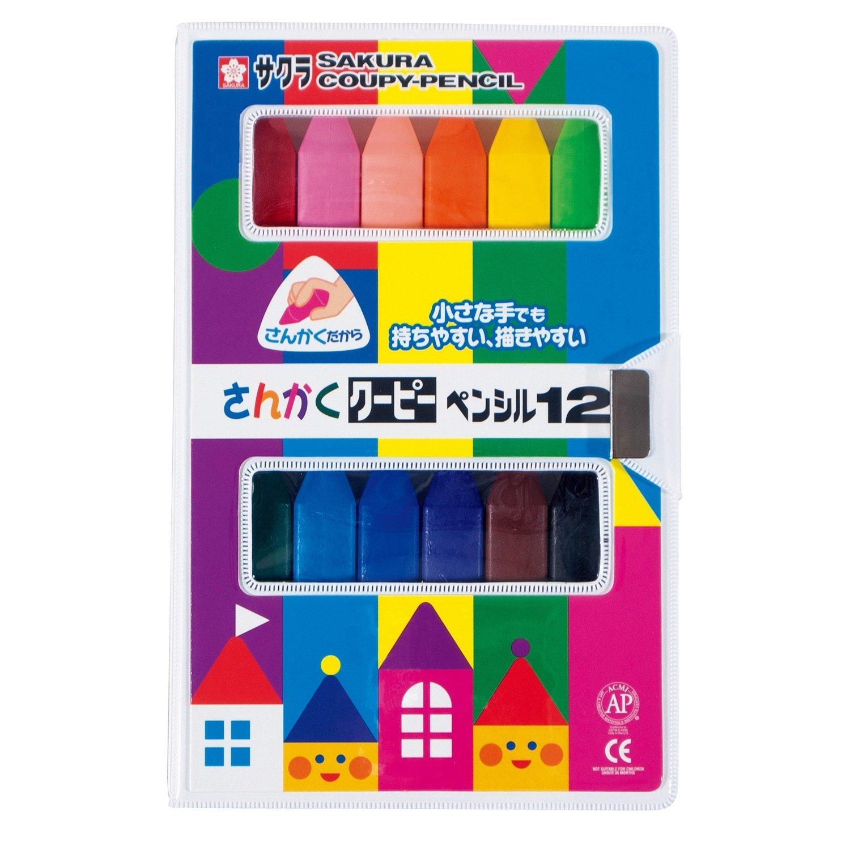 สีเทียน 12 สี แบบสามเหลี่ยม ยี่ห้อ Sakura