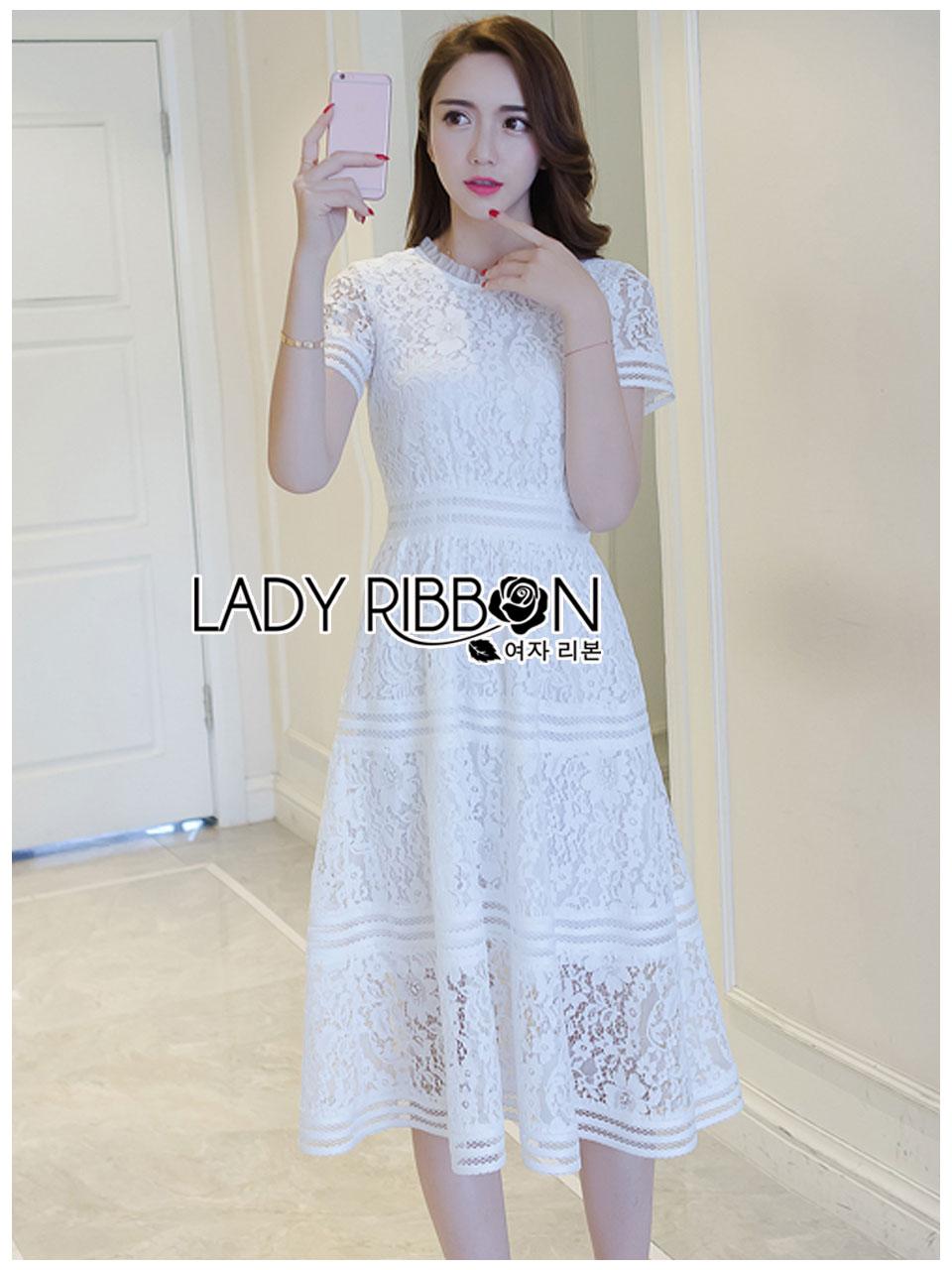 Lady Ribbon's Made Lady Leah Striped Layered White Lace Dress
