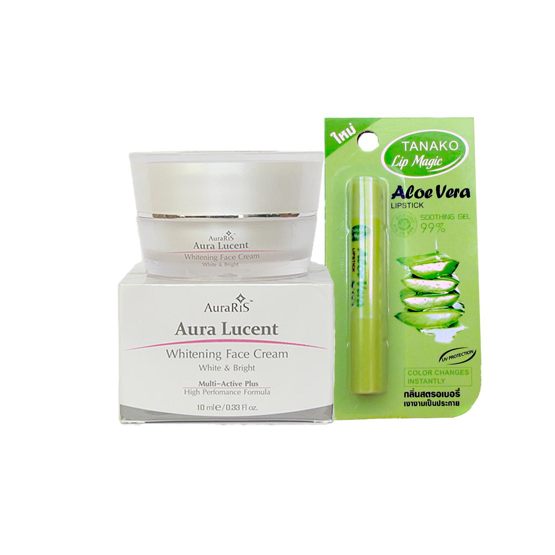 AuraRIS ครีมบำรุงผิวหน้า ครีมหน้าขาว ขาวสวยใส ลดสิว ฝ้า กระ จุดด่างดำ Whitening Face Cream 10 ml + TANAKO Aloe Vera Lipstick ลิปมันเปลี่ยนสีแดงเชอรี่ อุดมด้วยสารสกัดจากว่านหางจรเข้ 99% กลิ่นสตอเบอรี่ บำรุงและปกป้องริมฝีปาก อวบอิ่ม ชุ่มชื้น ไม่ลอก ไม่เป็นข