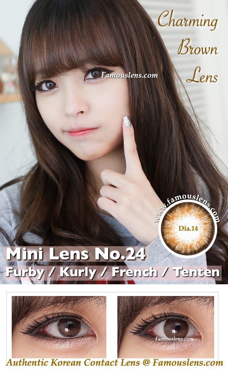 คอนแทคเลนส์สีน้ำตาล ธรรมชาติ เท่าตาจริง ขนาดเล็ก Kurly Furby Tenten French Extra Brown Contact Lens Dia.14