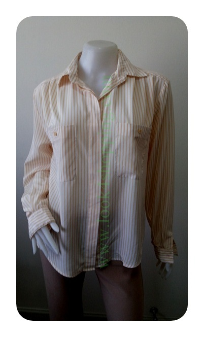 "jp2853-เสื้อเชิ้ตแฟชั่่น สวยๆลายทางสีเหลืองครีม 'อก 43 นิ้ว"""
