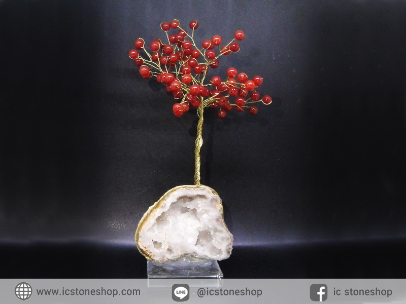 ต้นไม้มงคล หินคาร์เนเลี่ยน-ฐานควอตซ์ ใช้เสริมฮวงจุ้ย โต๊ะทำงาน (159g)