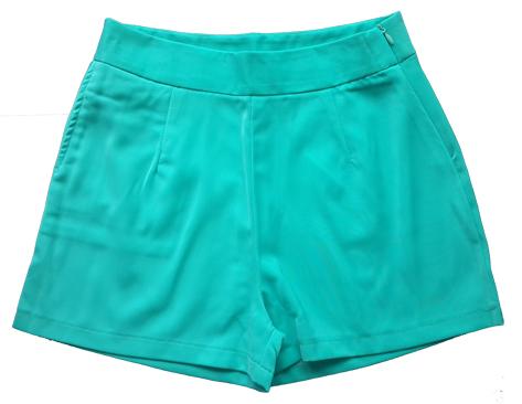 กางเกงขาสั้นเอวสูงผ้าฮานาโกะ สีเขียวมิ้น กระเป๋าขวา ซิปซ้าย Size 2XL 3XL