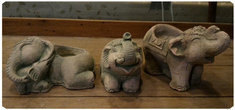 ช้างหินทรายหล่อ ชุด3ตัว พิเศษ