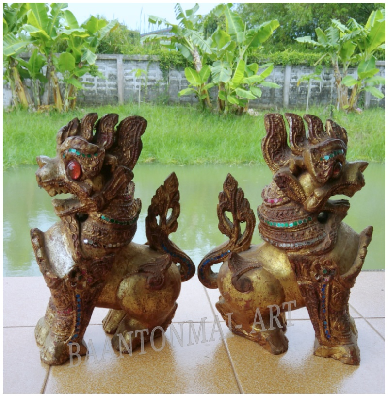 สิงห์ไม้แกะสลัก(คู่) ศิลปะพม่า สูง10 นิ้ว