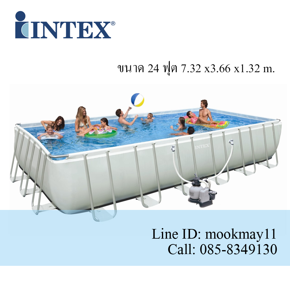 Intex Ultra frame Pool 24 ฟุต เครื่องกรองระบบทราย (7.32 x 3.66 x 1.32 ม.) 28362