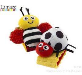 สายรัดข้อมือเสริมพัฒนาการสำหรับเด็ก เขย่ามีเสียง รูปผึ้ง (แพ็ค 1 ชิ้น)