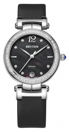 นาฬิกาผู้หญิง Rhythm รุ่น L1504L02, Diamond Sapphire Black Leather L1504L 02, L1504L-02