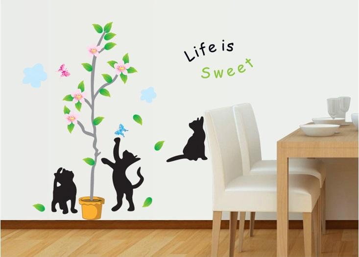 สติ๊กเกอร์ลายแมวเหมียวเล่นต้นไม้