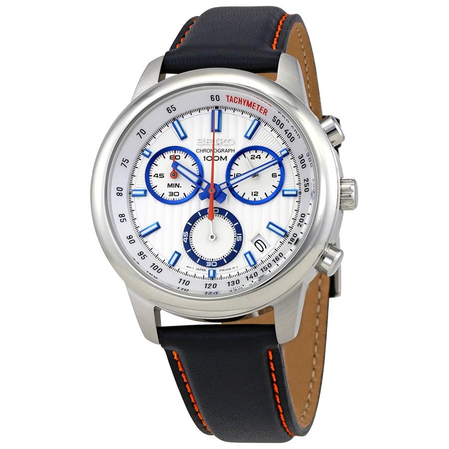นาฬิกาผู้ชาย Seiko รุ่น SSB209, Chronograph Leather White Dial