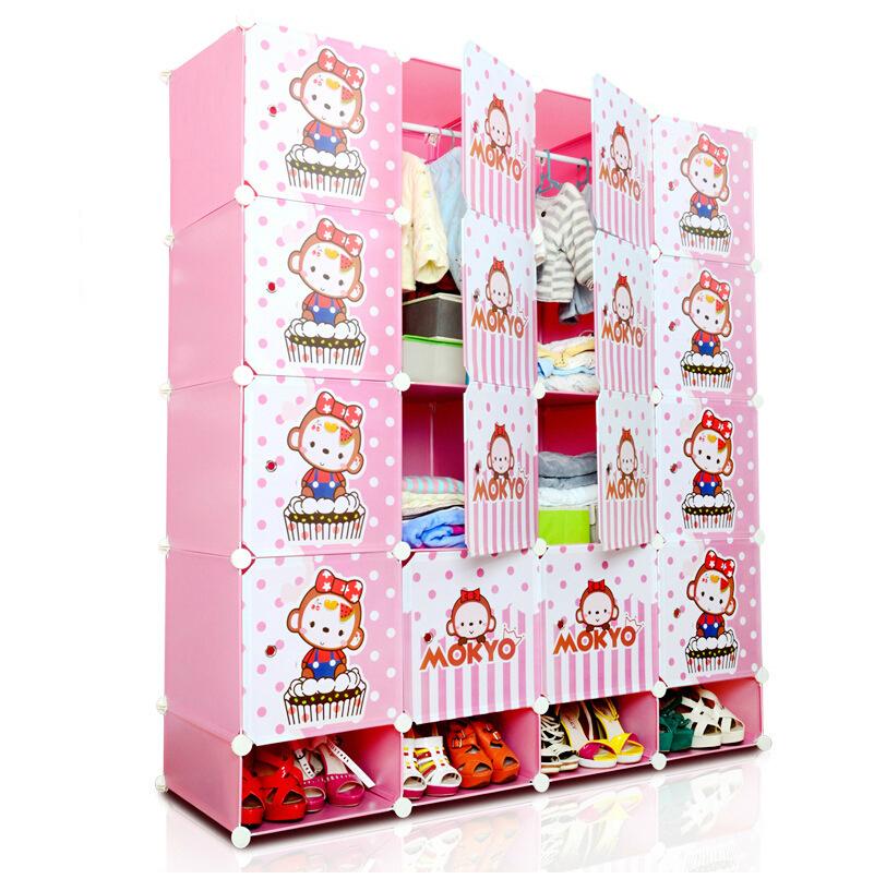 ตู้เก็บของ ตู้เสื้อผ้าเด็ก DIY ลาย ลิงชมพู Mokyo