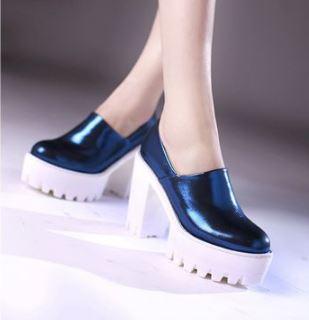 (พร้อมส่ง) รองเท้าพื้นหยักคัชชูหนังPUส้นสูง