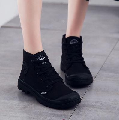 รองเท้าผ้าใบสไตล์บูทมาร์ตินพับขอบไซต์ 35-43