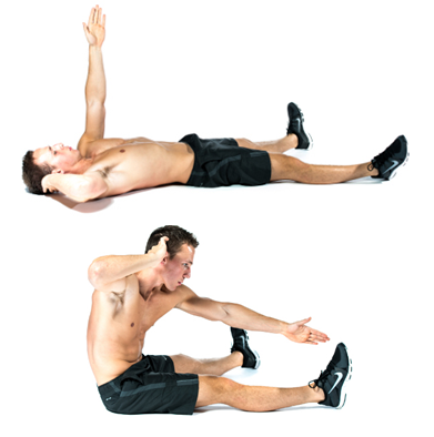 flatten belly-wide leg cross sit up