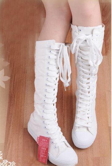 (พร้อมส่ง) รองเท้าผ้าใบแฟชั่นสูงถึงเข่าพื้นหนา