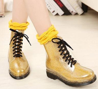 รองเท้าบูทผูกเชือกแฟชั่นหน้าฝน